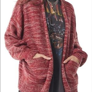 Urban Outfitters Red Cardigan with pockets